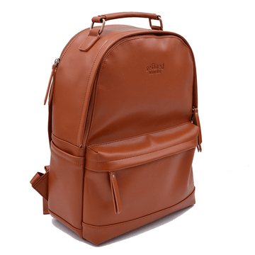 Full view of tan vegan leather backpack by Refined Traveler