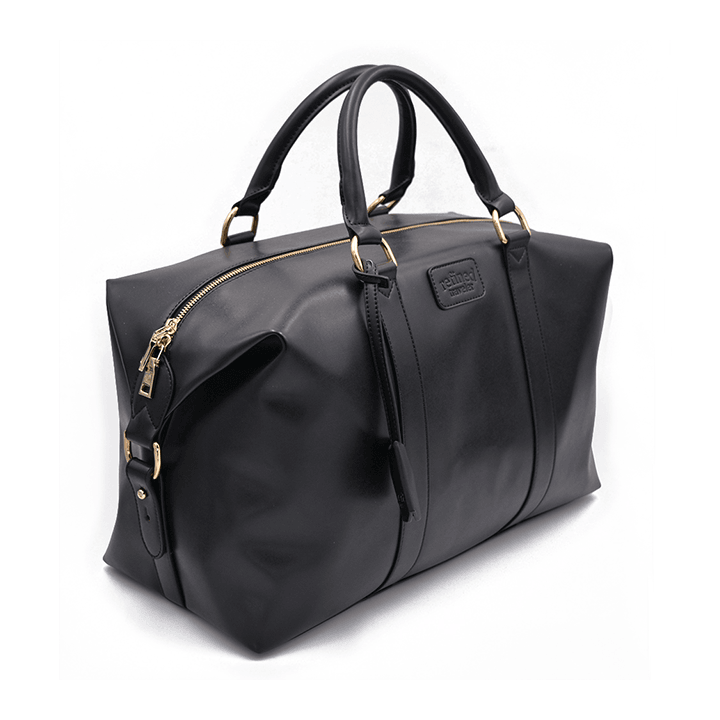 Full view of black vegan leather duffel bag by Refined Traveler
