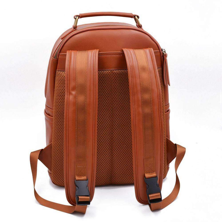 Backpack strap view of tan vegan leather backpack by Refined Traveler