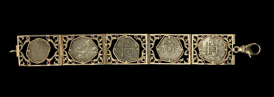 Mixed Spanish Coin Bracelet with Rubies