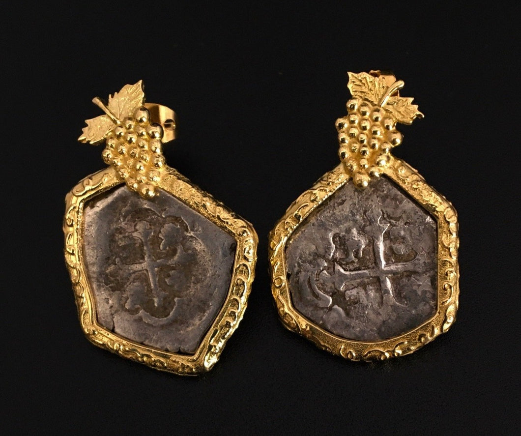 Mexico City 18k Gold Earrings with Grapes