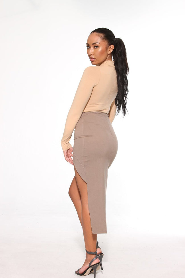 HIGH LOW KHAKI SKIRT