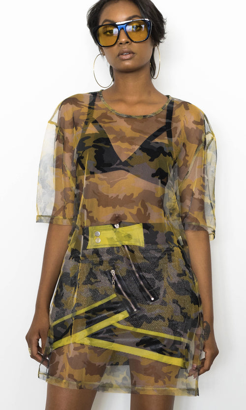 CLEARLY CAMO SHEER TUNIC