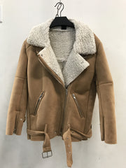 WARM ME UP SUEDE SHEARLING COAT