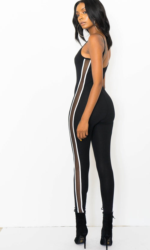SPORTY STRIPED UNITARD (BLACK)