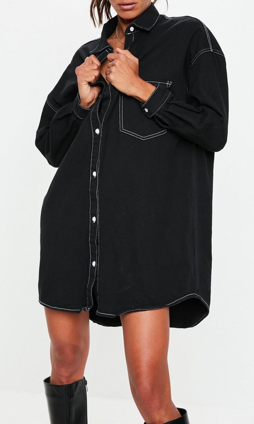 BOYFRIEND BUTTON UP (BLACK)