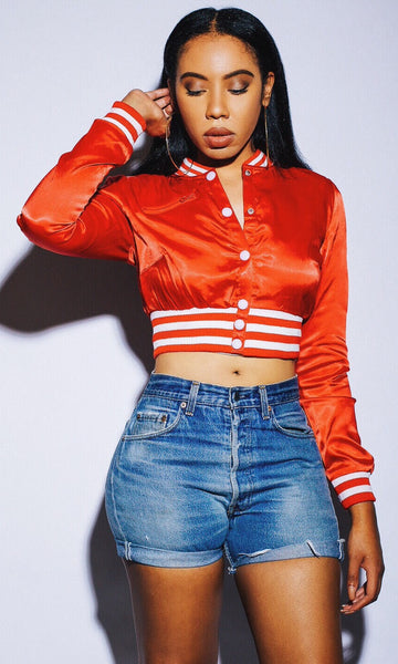 CROPPED SATIN BASEBALL JACKET (CHERRY)