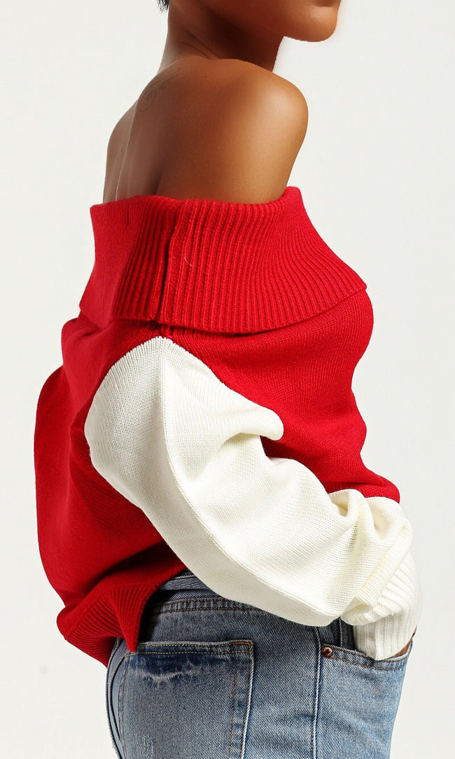 SPORTY STRIPED SWEATER (RED)