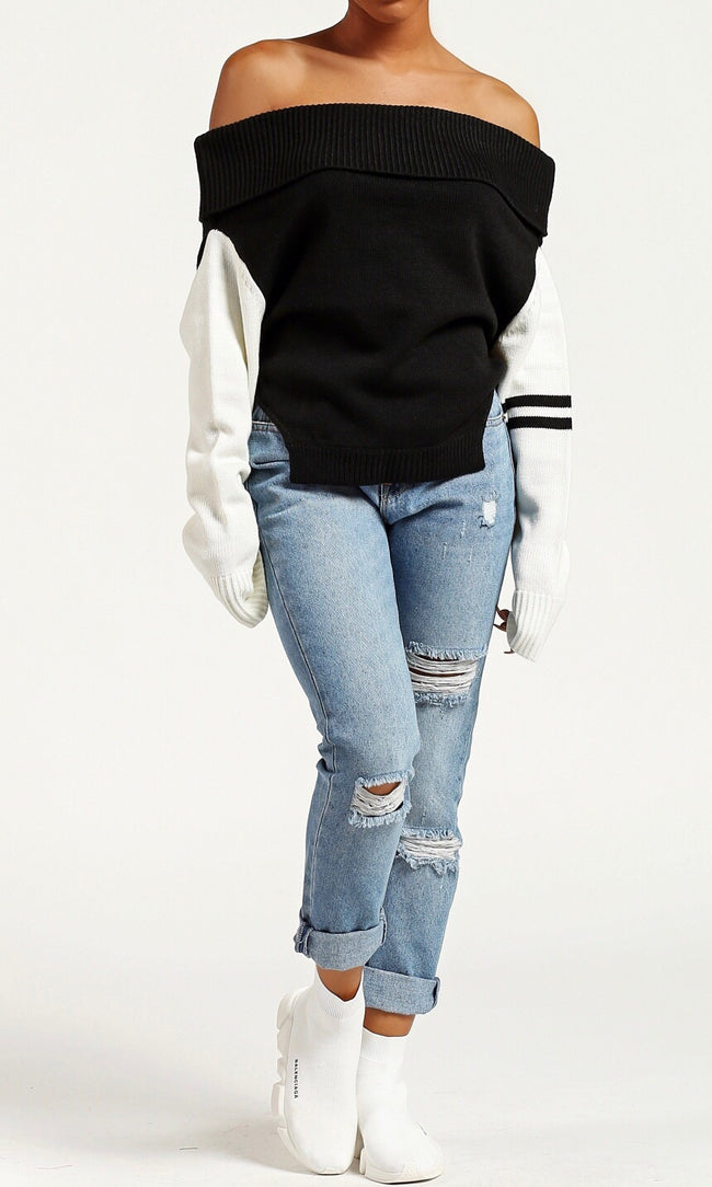 SPORTY STRIPED SWEATER (BLACK)