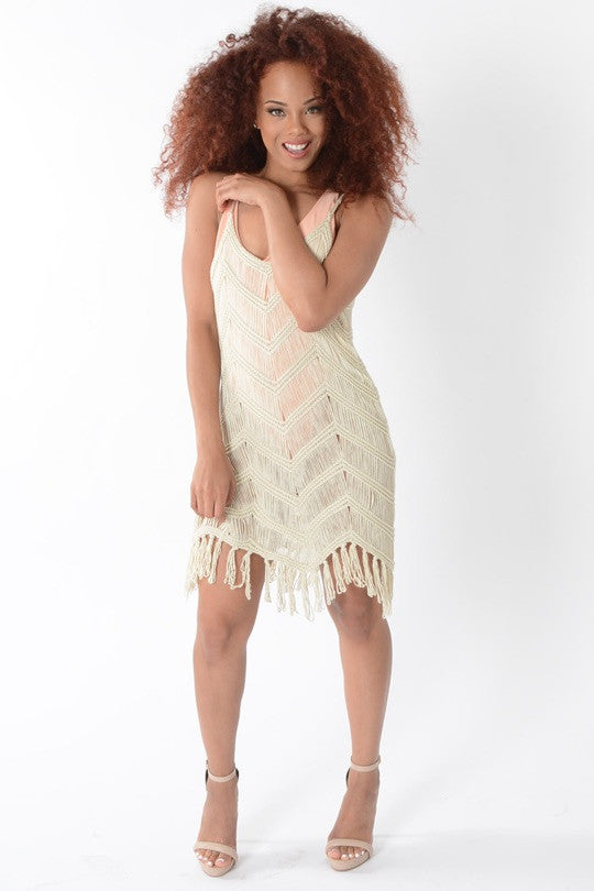BEIGE BEACH BABE DRESS