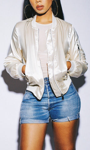 SMOOTH LIKE SATIN BOMBER JACKET