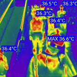 crowd temperature checking with infrared glasses