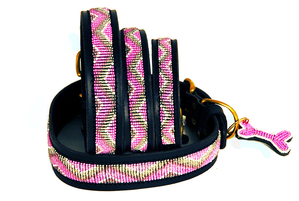 """Kabaka Pink"" Leather Beaded Dog Collars"