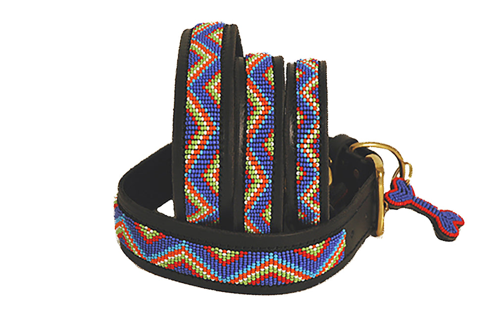 """Blue Maasai"" Leather Beaded Dog Collar"