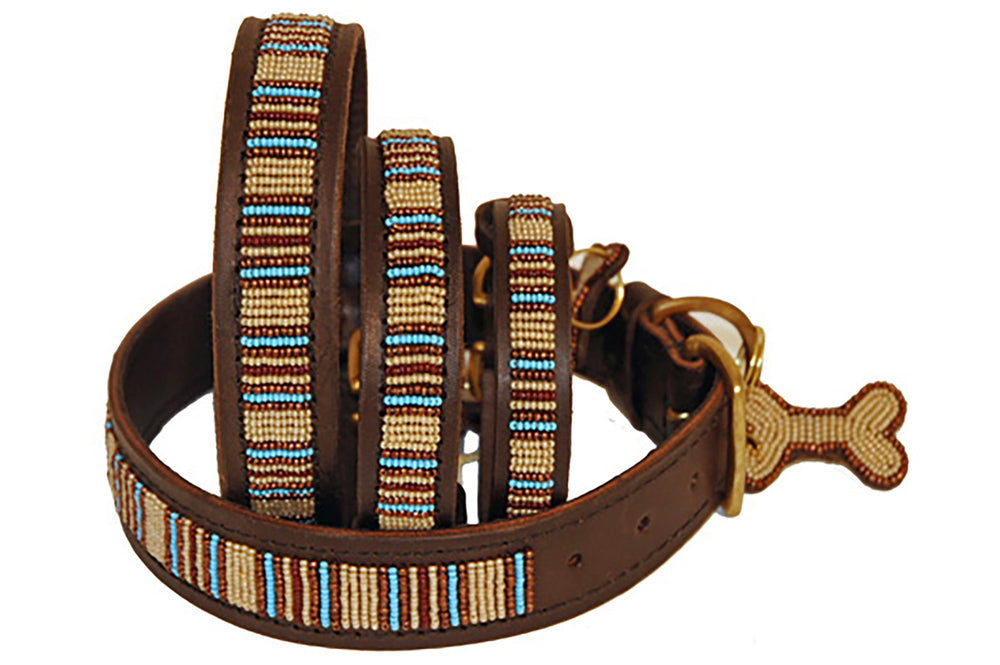 "Load image into Gallery viewer, ""Blue Nile"" Leather Beaded Dog Collars"