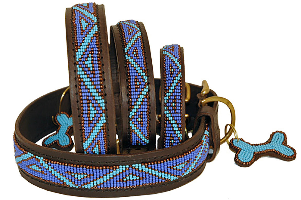 """Kabaka Blue"" Leather Beaded Dog Collars"