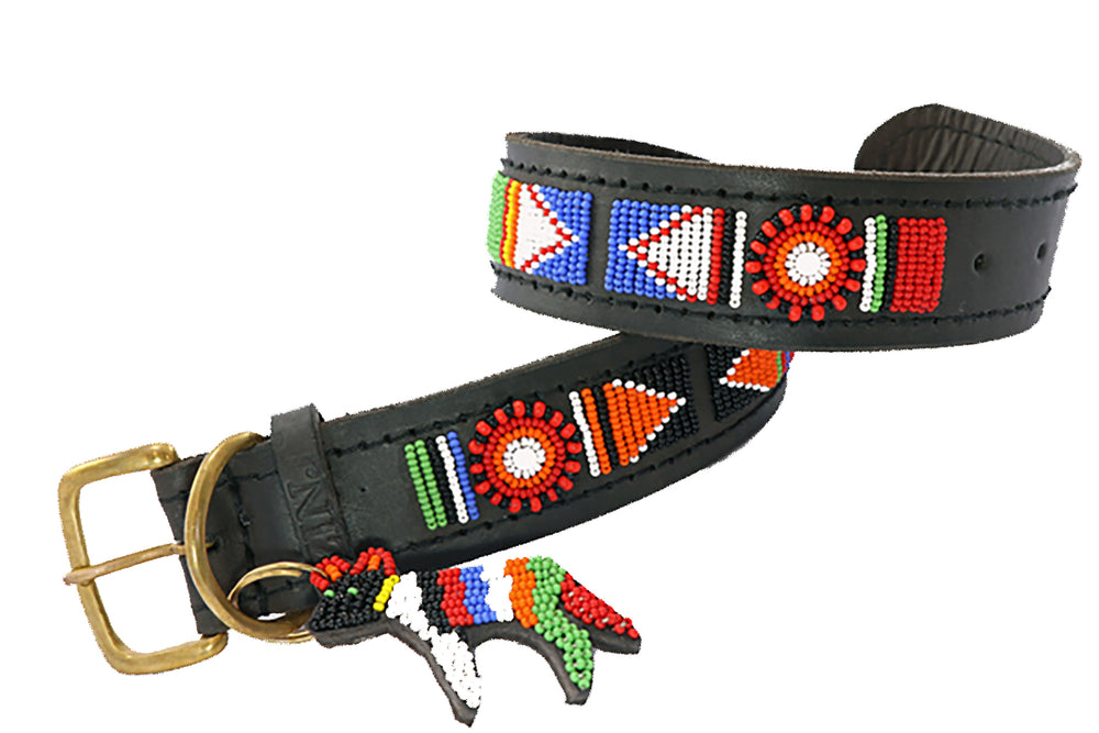 "Load image into Gallery viewer, ""Maragoli"" Leather Beaded Dog Collars"