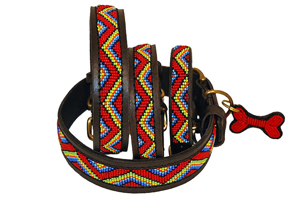 """Red Maasai"" Beaded Dog Collars"