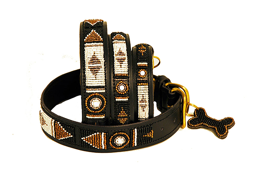 "Load image into Gallery viewer, ""Swahili"" Leather Beaded Dog Collars"