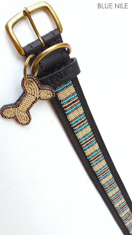 """Blue Nile"" Leather Beaded Dog Collars"