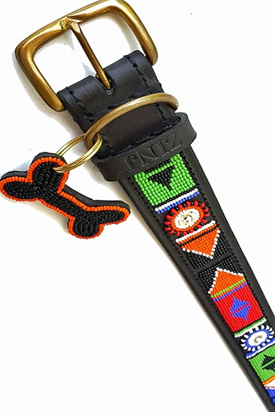 """Maragoli"" Leather Beaded Dog Collars"