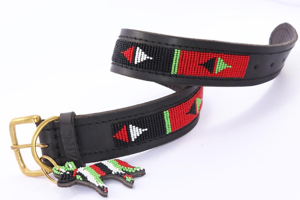 """Pokot Black"" Beaded Dog Collars"