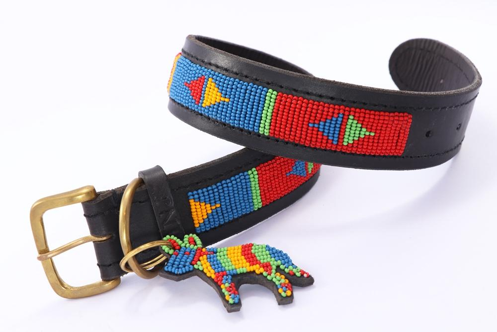 """Pokot Red"" Beaded Dog Collars"
