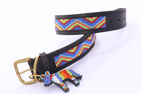 "Load image into Gallery viewer, ""Blue Maasai"" Leather Beaded Dog Collar"