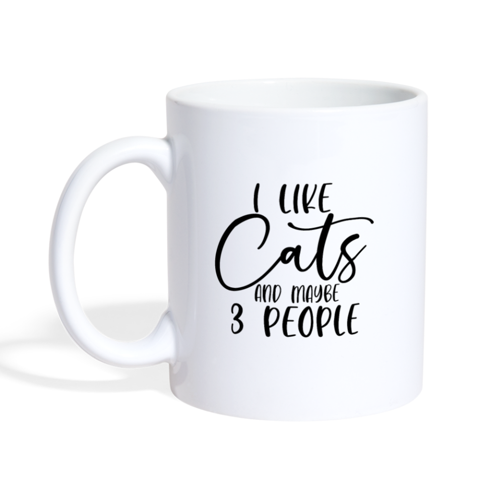 I like cats and maybe 3 people Coffee Mug - white