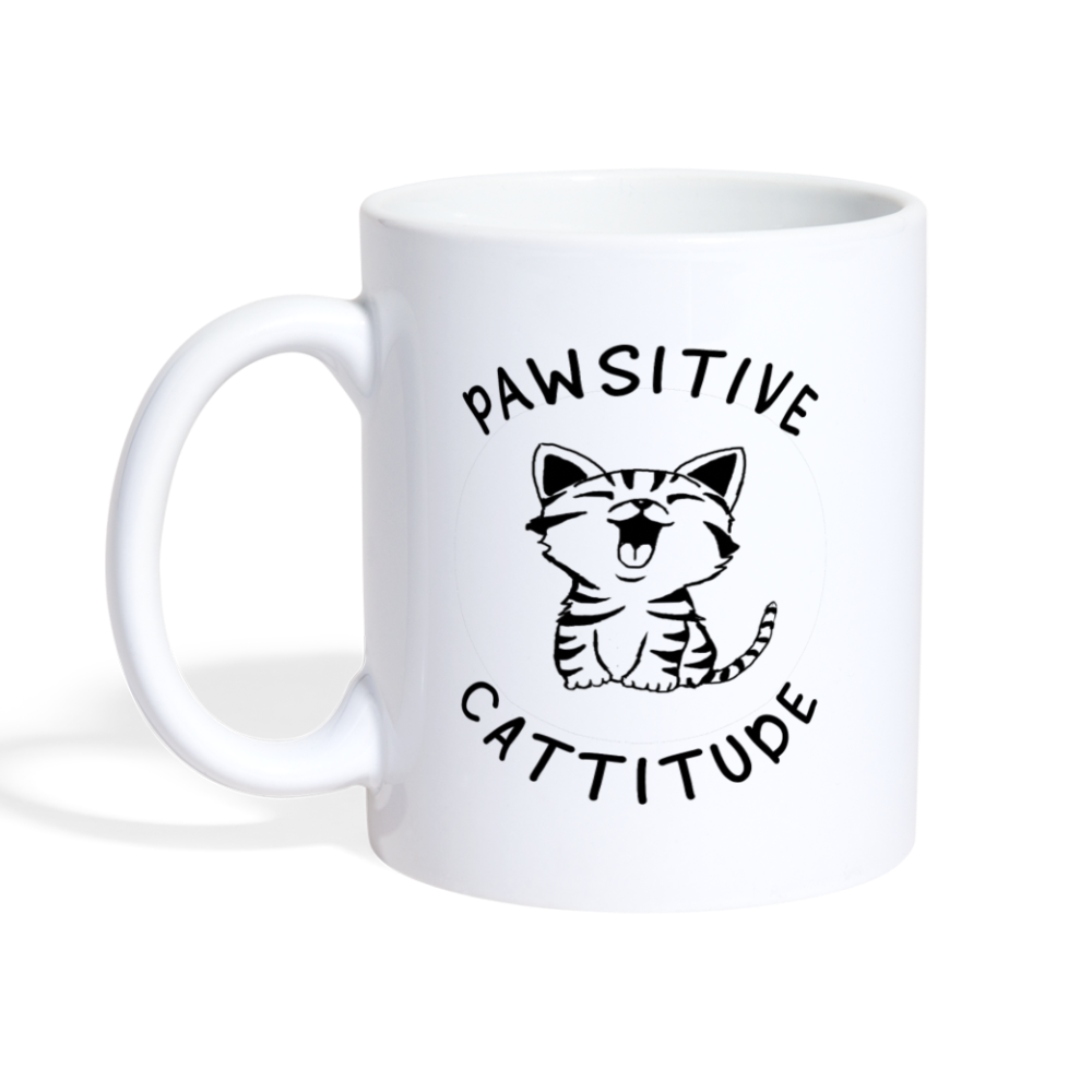 Pawsitive Cattitude Coffee Mug - white
