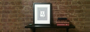Happy Mac on Gray Icon Print Framed