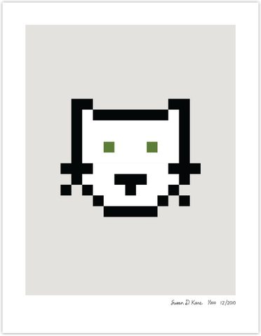 Cat on Gray Icon Print