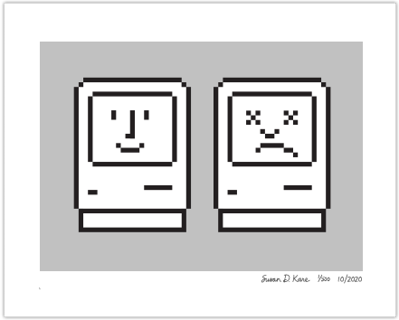 Happy & Unhappy Macs on Gray Icon Print