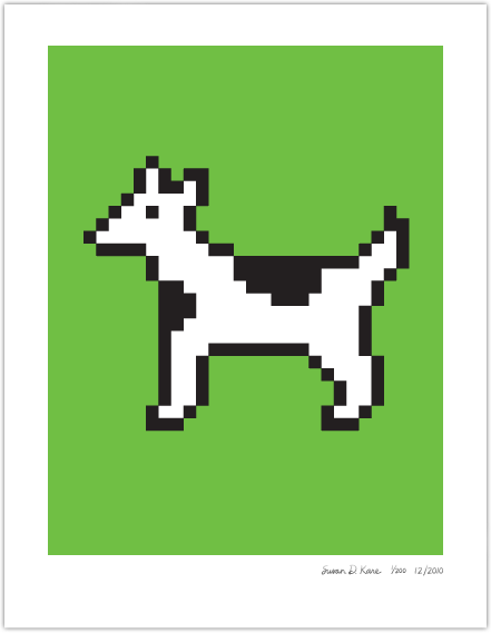 Moof the Dogcow on Green Icon Print