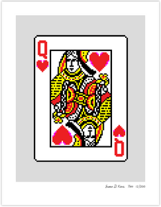 Solitaire on Gray (Queen of Hearts) Icon Print