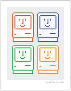 4 Happy Macs on Gray icon print