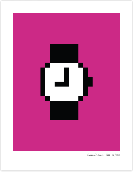 Macintosh Watch on Hot Pink Icon Print