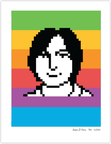 Steve Jobs 1983 on Rainbow Icon Print