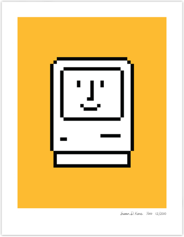 Happy Macintosh on Bright Yellow Icon Print
