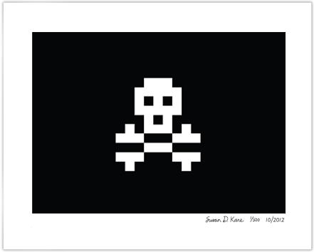 Skull & Crossbones on Black Icon Print