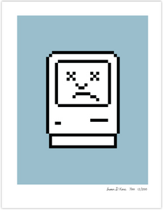 Unhappy Macintosh on Blue Icon Print