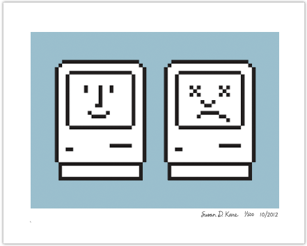 Happy & Unhappy Macs on Blue Icon Print