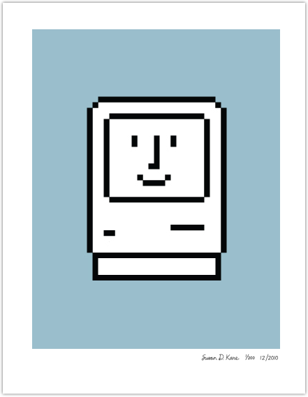 Happy Macintosh on Blue Icon Print