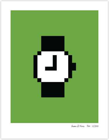 Macintosh Watch on Green Icon Print