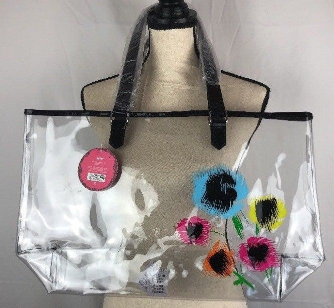 Crystal Bloom Tote Bag Flowers Clear See Thru