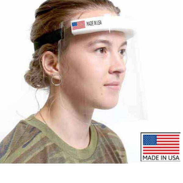 CLEAR ANTI-MICROBIAL FACE SHIELD WITH SPONGE HEADBAND (Pack of 2)