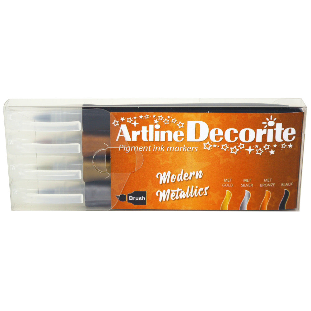 Artline Decorite brush Sort, kobber, guld og sølv (Artline)