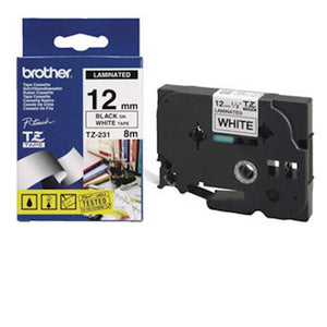 Brother TZe tape 12mmx8m sort/hvid (Brohter)