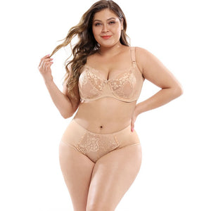 Open image in slideshow, Plus Size Bra Set Ultra-thin Lace Full Cup Bra Sexy Women Adjustable Shoulder Straps Lingerie