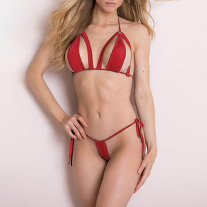 Sex Shop Fashion Women Sexy Simple Lingerie Set With G-String Underwear Bikini Bodydoll Exotic Apparel Micro Bikini Extreme A40